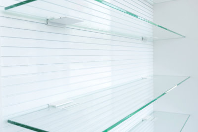 glass empty shelves
